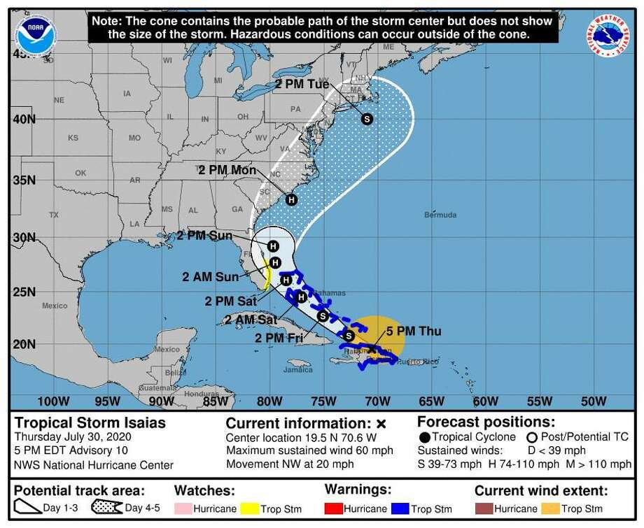 The current path of the storm, expected to reach the Connecticut area on Tuesday. Photo: Contributed Photo / National Oceanic And Atmospheric Administration