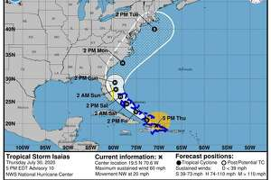 The current path of the storm, expected to reach the Connecticut area on Tuesday.
