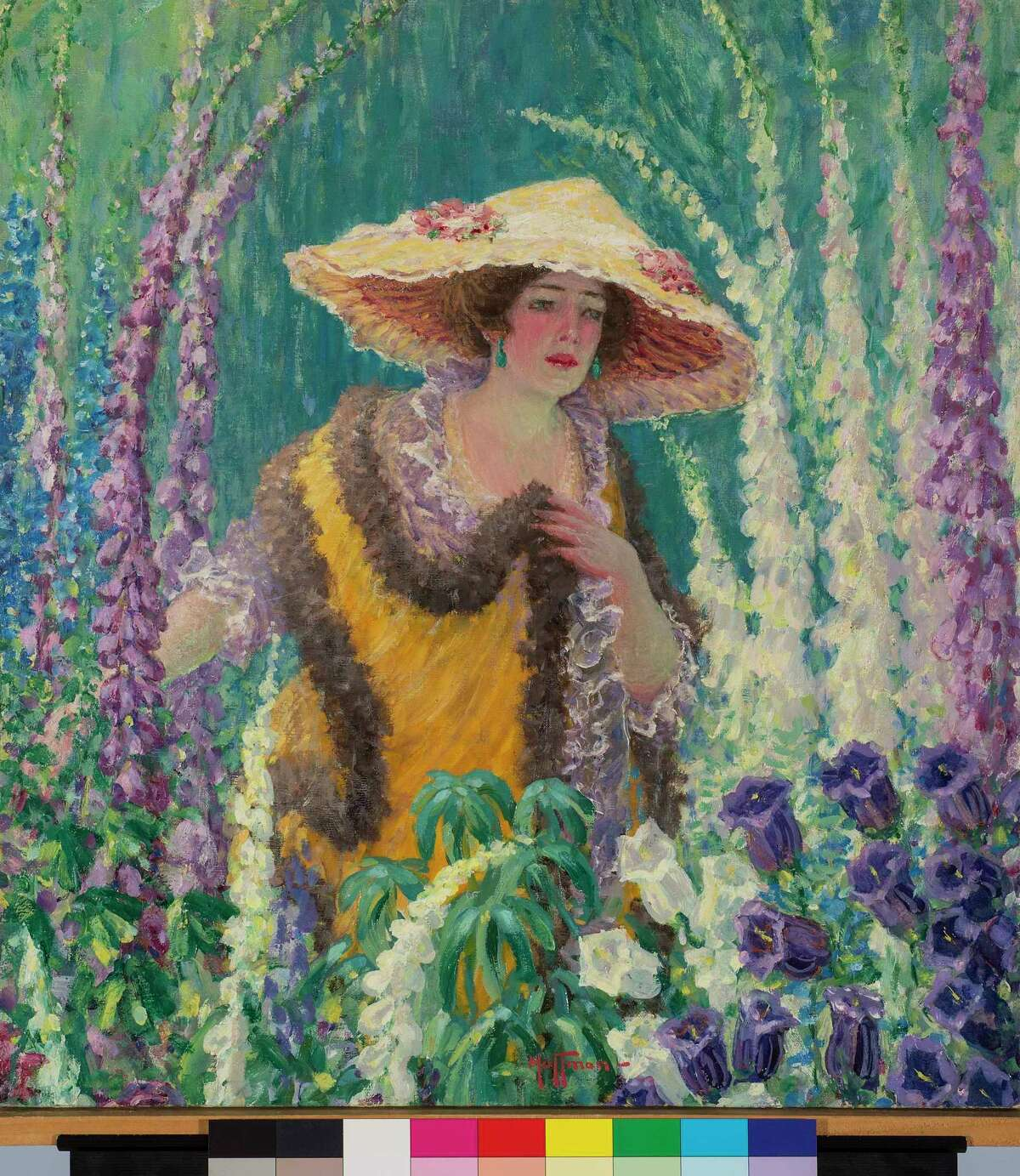 """IMPRESSIONS: Harry Hoffman's """"An Old-Fashioned Garden,"""" ca. 1920, is part of the Florence Griswold Museum's exhibit """"Fresh Fields: American Impressionist Landscapes from the Florence Griswold Museum,"""" available through Nov. 1 at the 96 Lyme St., Old Lyme museum."""