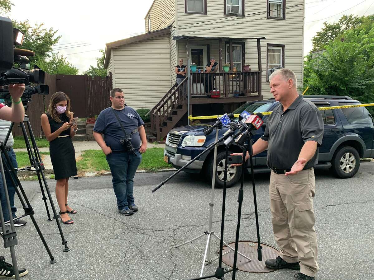 Dan DeWolf address reporters about the shooting of an alleged assailant in a domestic dispute who was shot and killed by an off-duty police officer on Thursday July 30, 2020.