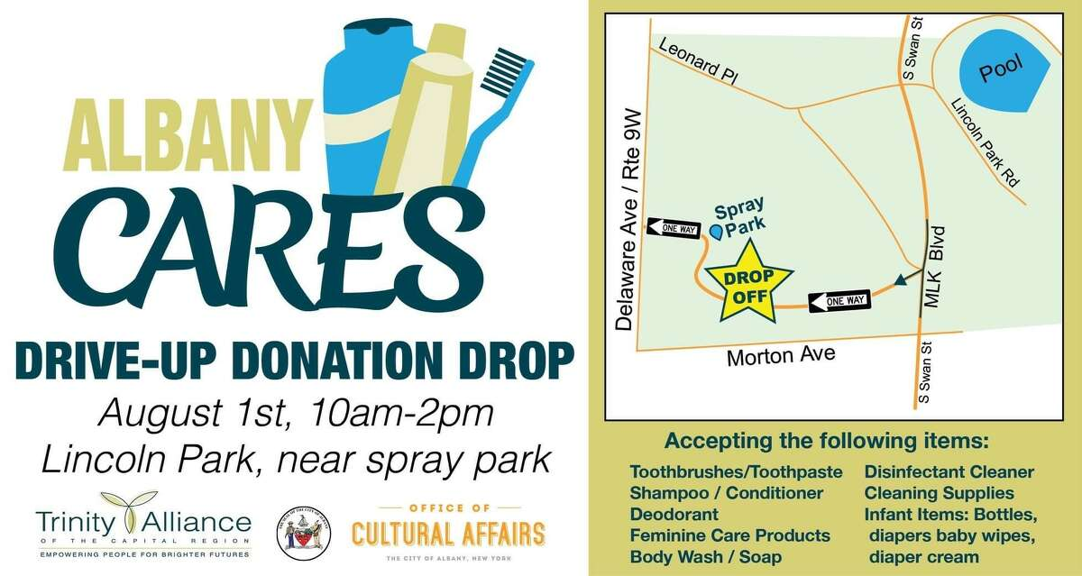 The city of Albany and Trinity Alliance plan an Albany Cares Drive Up and Drop Off in Lincoln Park, 10 a.m. to 2 p.m. Saturday, Aug. 1.