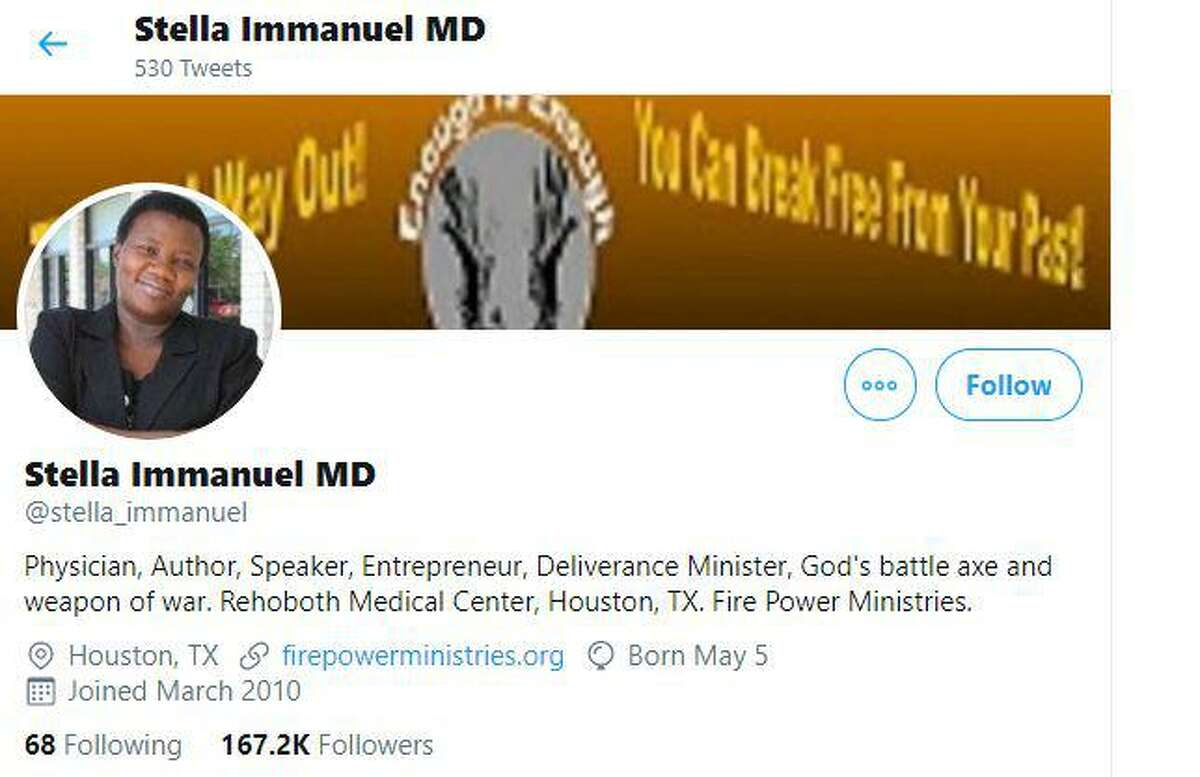 Dr. Stella Immanuel's Twitter page as of July 30, 2020