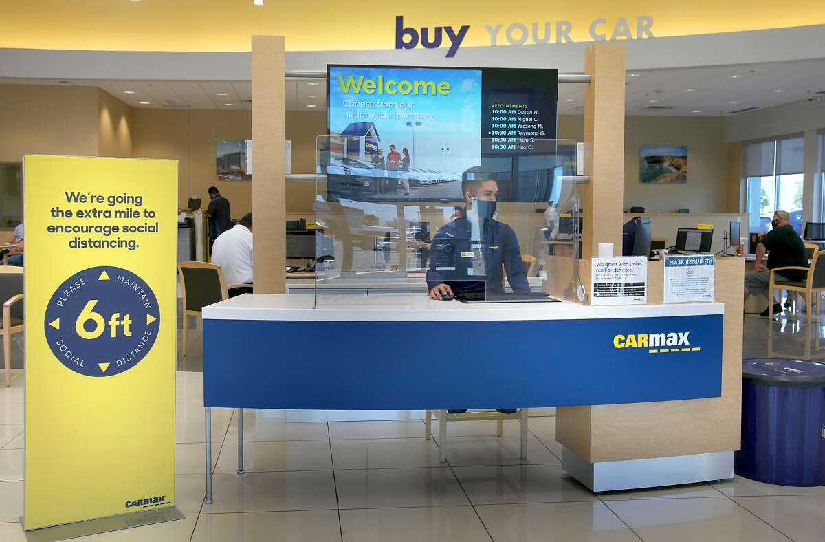 Front desk seen from the entrance at the San Jose Carmax, on Thursday, July 30, 2020, in San Jose, Calif.