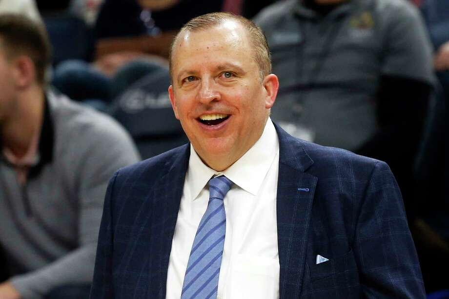FILE - In this Jan. 4, 2019, file photo, Minnesota Timberwolves head coach Tom Thibodeau smiles in the waning moments as his team defeats the Orlando Magic in an NBA basketball game in Minneapolis. Thibodeau is back in New York as the Knicksa€™ new coach. The former NBA Coach of the Year was hired Thursday, July 30,2020, returning to the team he helped lead to the NBA Finals as an assistant coach. (AP Photo/Jim Mone, File) Photo: Jim Mone / Copyright 2019 The Associated Press. All rights reserved.