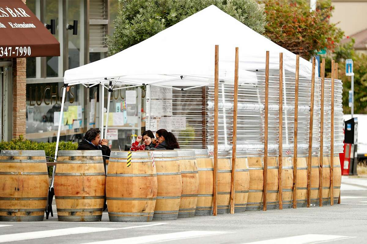 The parklet at San Francisco's Lucho's is seen in July. More Bay Area restaurants are planning to erect tents to protect customers from potential rain this winter.