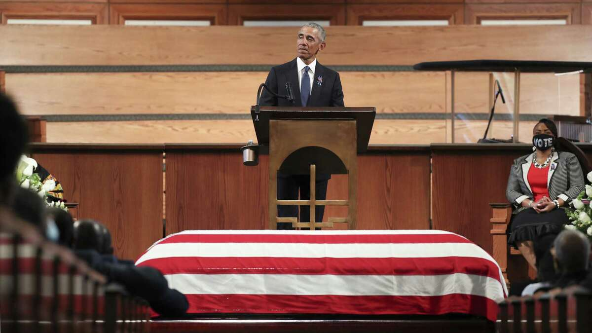 ATLANTA, GEORGIA - JULY 30: Former President Barack Obama gives the eulogy at the funeral service for the late Rep. John Lewis (D-GA) at Ebenezer Baptist Church on July 30, 2020 in Atlanta, Georgia. Lewis, a civil rights icon and fierce advocate of voting rights for African Americans, died on July 17 at the age of 80. (Photo by Alyssa Pointer-Pool/Getty Images) *** BESTPIX ***