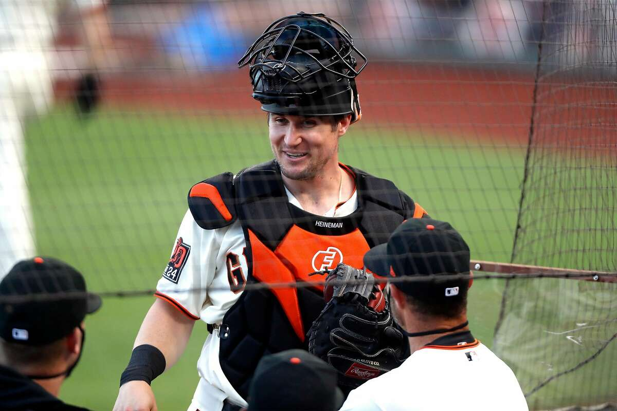 San Francisco Giants' Tyler Heineman in 2nd inning against San Diego Padres during MLB game at Oracle Park in San Francisco, Calif., on Thursday, July 30, 2020.