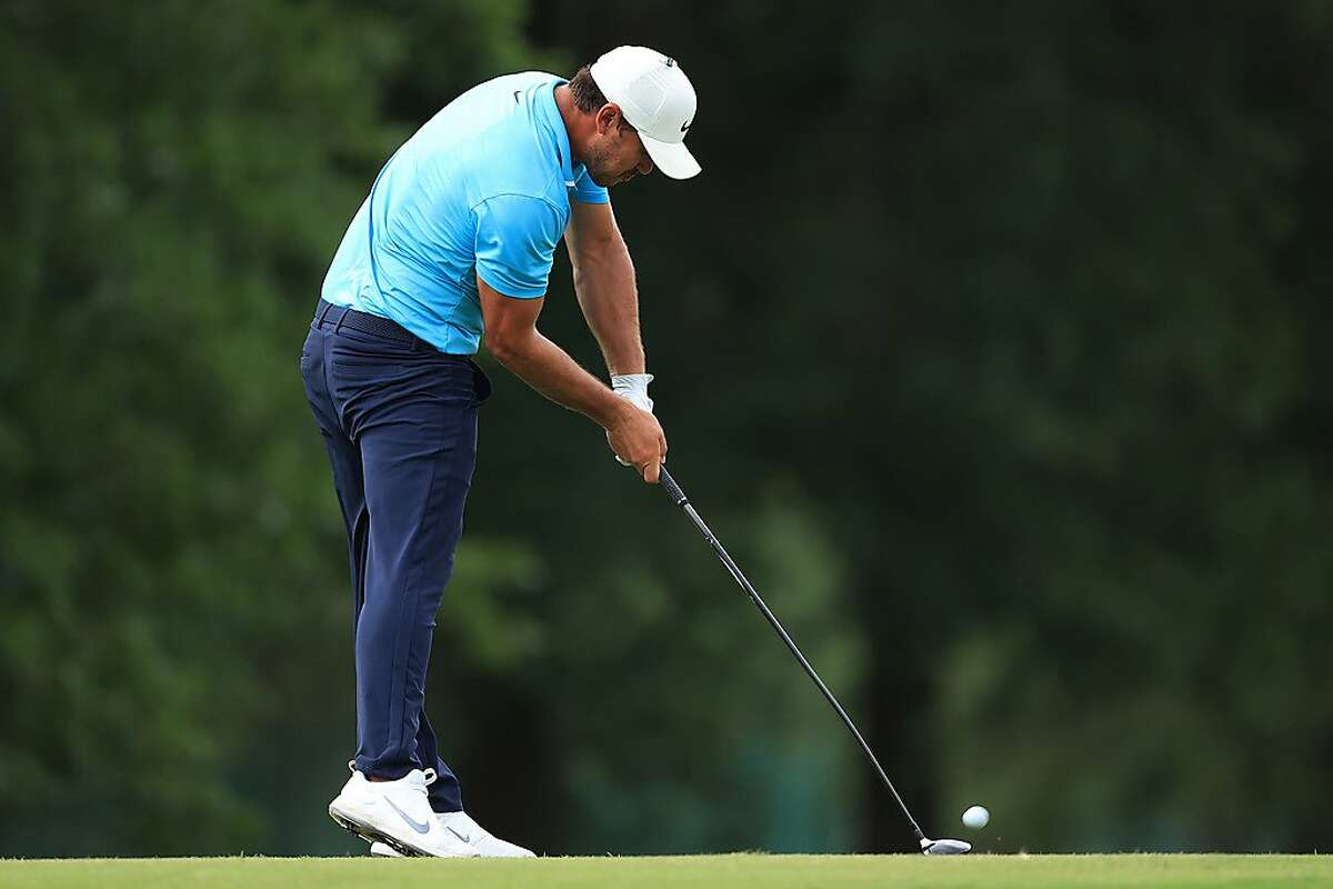 MEMPHIS, TENNESSEE - JULY 30: Brooks Koepka of the United States plays his shot from the 18th tee during the first round of the World Golf Championship-FedEx St Jude Invitational at TPC Southwind on July 30, 2020 in Memphis, Tennessee. (Photo by Andy Lyons/Getty Images)