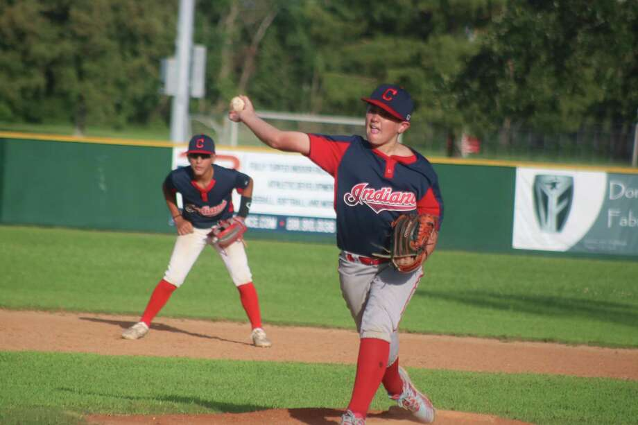 Indians pitcher Camden Slazer did his part to keep his teammates alive in League City Little League's Major Division playoffs Thursday night. Photo: Robert Avery