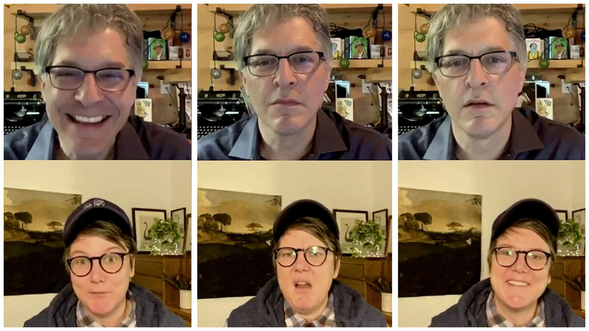 """Geoff Edgers and Hannah Gadsby on July 17 in Edgers' twice-weekly Instagram Live show """"Stuck with Geoff."""""""