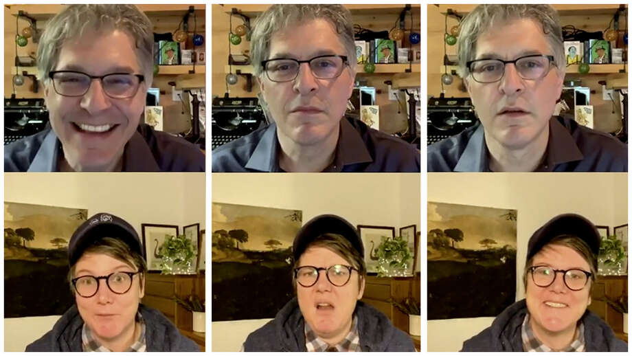 """Geoff Edgers and Hannah Gadsby on July 17 in Edgers' twice-weekly Instagram Live show """"Stuck with Geoff."""" Photo: The Washington Post / The Washington Post"""
