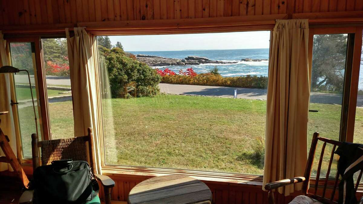 The view out the front window of the cabin on Pemaquid Point in New Harbor.