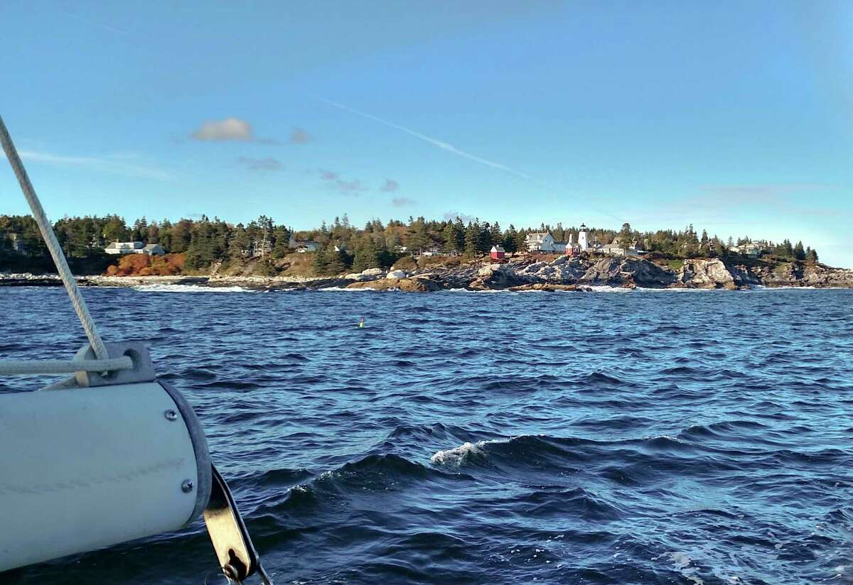 The view from the sea of Pemaquid Point in New Harbor.