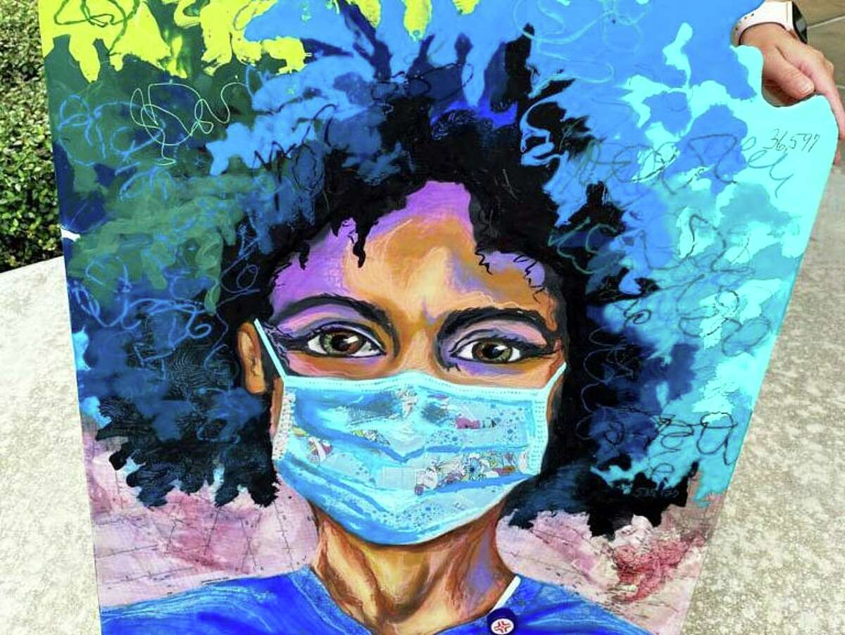 """Houston artist Stacy Gresell donated her painting, """"Living on the Downbeat,"""" to display at HCA Houston Healthcare North Cypress through the HeART for Heroes initiative, a partnership between HCA Houston Healthcare and the Bayou City Art Festival."""