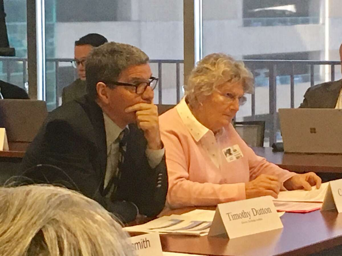 Tim Dutton and Celeste Markel of The Bridge Academy Charter School in Hartford. March 4, 2020