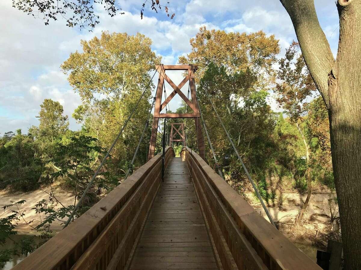 Bayou Bend's bridge across Buffalo Bayou leads to the historic home and gardens.