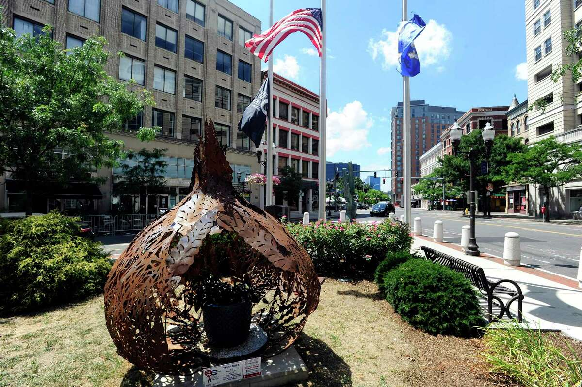 Behind the Old Stamford Town Hall is Tulip Bulb by Artist Emily Teall.