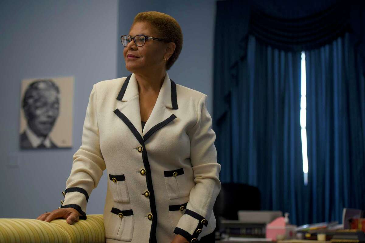 Rep. Karen Bass, D-Calif., seen at her office on Capitol Hill, made history as the first Black woman in the United States to become a state assembly speaker.