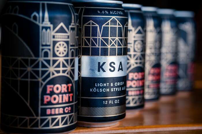 A close up of Fort Point's can of KSA K�LSCH style lager at the Fort Point Brewery in San Francisco, Calif. on Sunday, January 26, 2020.