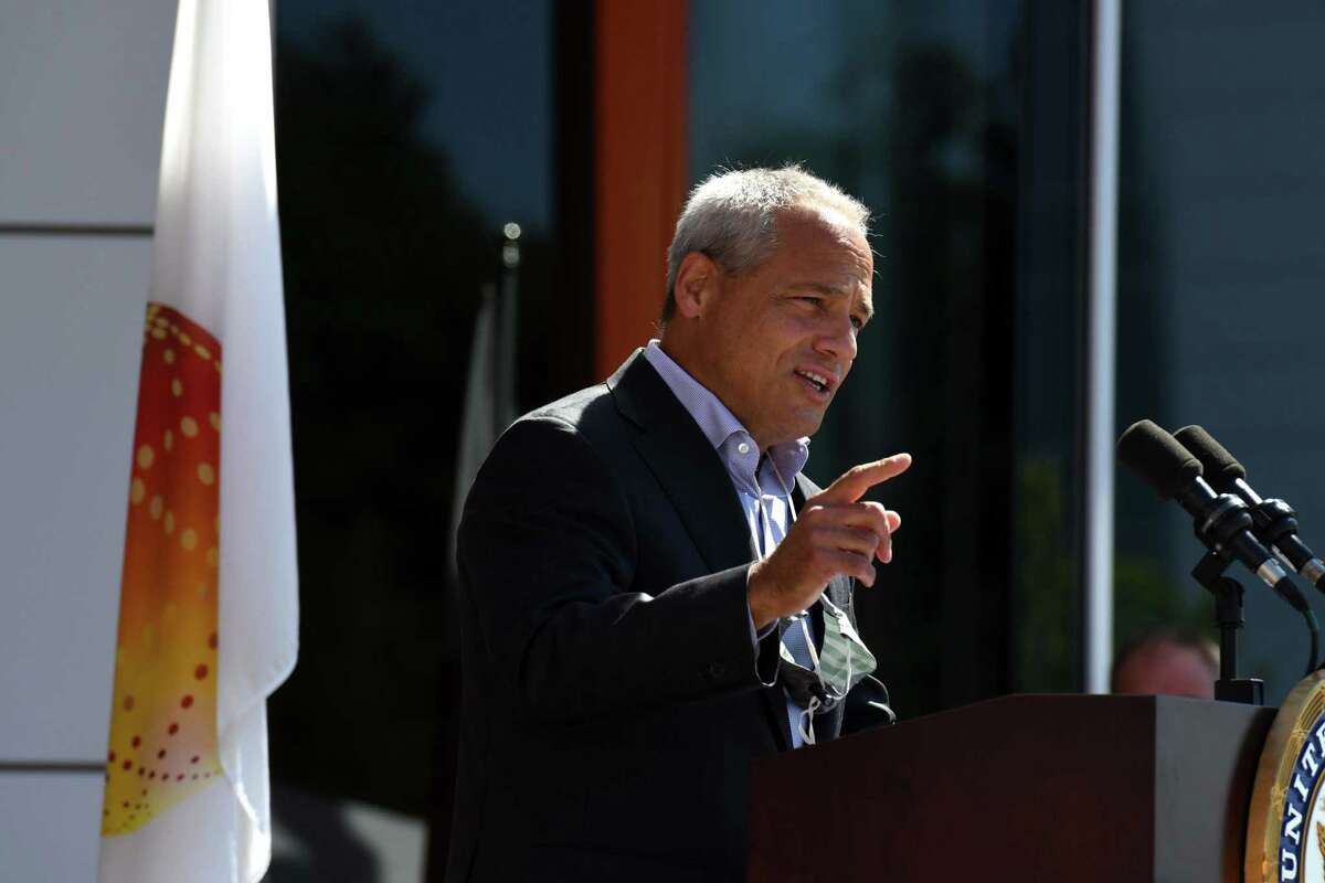 GlobalFoundries CEO, Tom Caulfield joined U.S. Sen. Charles Schumer in calling for swift Senate passage of the National Defense Authorization Act, while speaking at an event at GlobalFoundries on Friday, July 31, 2020, in Matla, N.Y. The legislation aims to reduce reliance on foreign semiconductor manufacturing by increasing federal investment into U.S. semiconductor production facilities. (Will Waldron/Times Union)