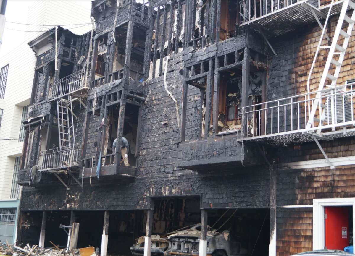 A fire ripped through an apartment building in North Beach on July 31, 2020.