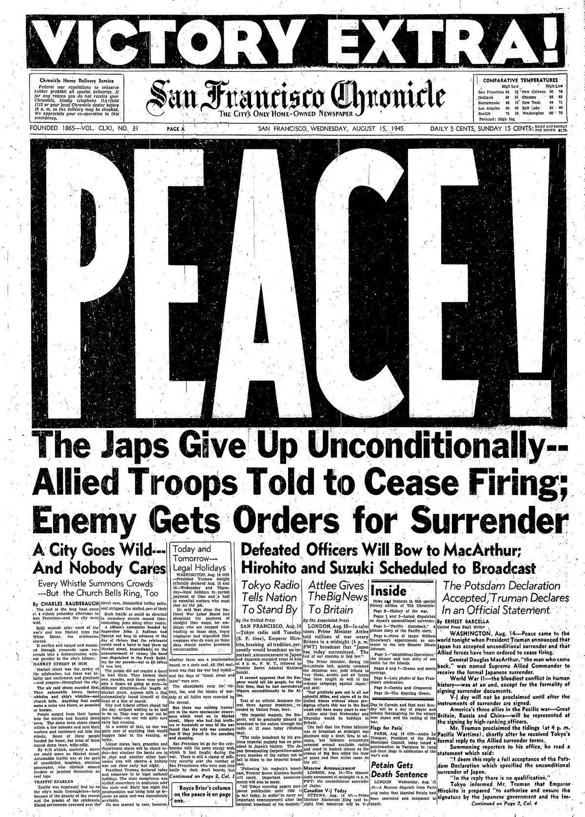 Chronicle August 15, 1945, front page announcing V-J Day, the surrender of Japan and the end of World War II