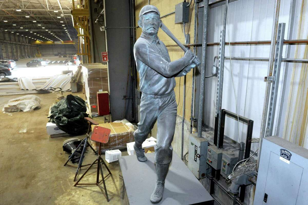 The statue of famed baseball player and Bridgeport native James O'Rourke (1850 - 1919) is currently in storage inside a warehouse on Seaview Avenue in Bridgeport, seen here July 29, 2020. The statue used to stand in front of the former Bridgeport Bluefish stadium.