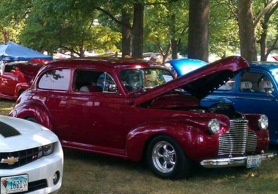 Cars line up at last year's Roxana Car and Bike Show. This year's event is set for Sunday.