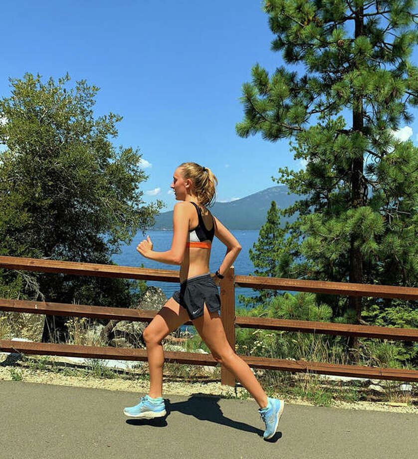 Madison Strotheide, who will be a sophomore at Edwardsville High School, ran her time trial for the Virtual Mud Mountain while on vacation in the Sierra Nevada Mountains. Photo: For The Telegraph