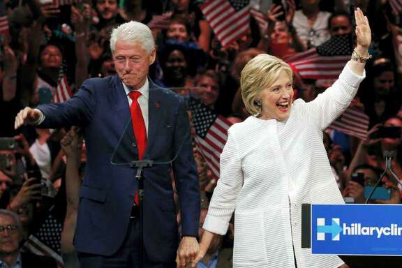 Democratic presidential candidate Hillary Clinton, and her husband former President Bill Clinton, greet supporters after voting in Chappaqua, N.Y., Nov. 8, 2016. Clinton won the popular vote, but not the Electoral College. A reader says the beauty of the Electoral College is how it ensures the relevance of small states.