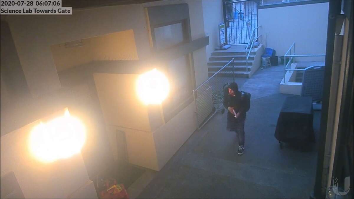 The burglary suspect was caught on camera by the St. Thomas the Apostle school.