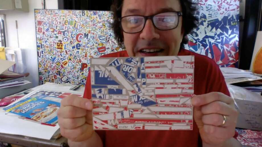 Pop artist Michael Albert shows off his finished American flag collage. Photo: DoSeum