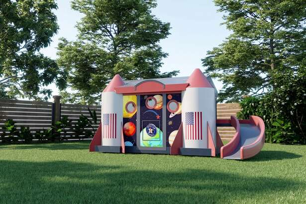 The Mission Control playhouse features an operable Dutch-style spaceship door, a detachable slide, a flat screen TV, a gaming system and gaming chairs that appeal to children and adults of all ages.