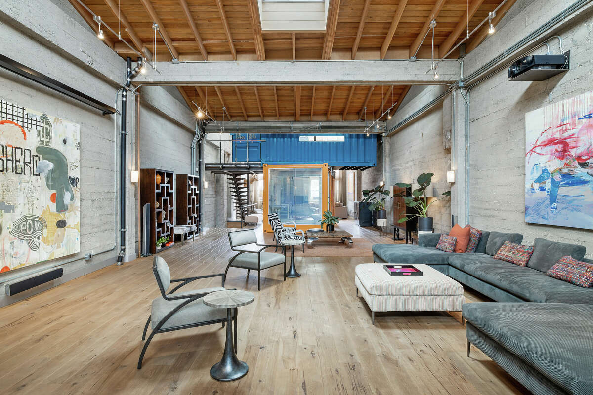 There are 17 foot ceilings and plenty of light to soften the industrial finishes.