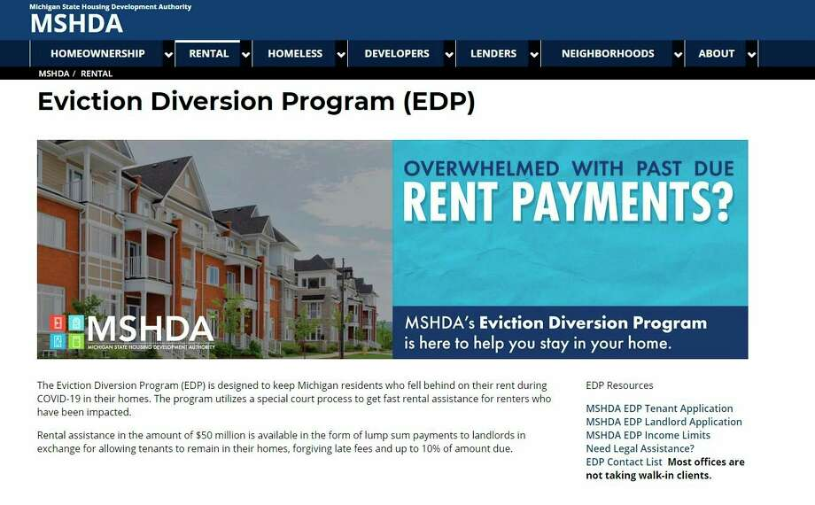 Manistee County tenants and landlords now have access to assistance through a new Michigan State Housing Development Authority program that centers on preventing evictions due to financial hardship during the pandemic. (Michigan State Housing Development Authority website screenshot)