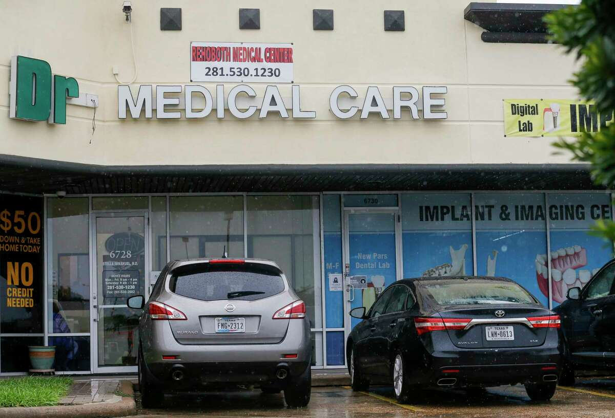 This is one of two clinics, two doors away from each other, operated by Stella Grace Immanuel, a licensed medical practitioner and preacher with the Fire Power Ministries church, at The Commons at Mission Bend shopping mall Wednesday, July 29, 2020, in Houston.