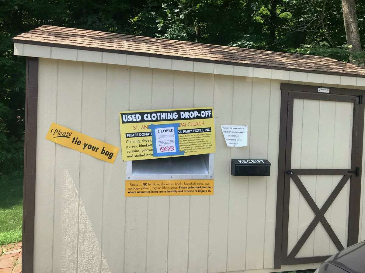 St. Andrew's Episcopal Church has temporarily closed its clothing donation shed,