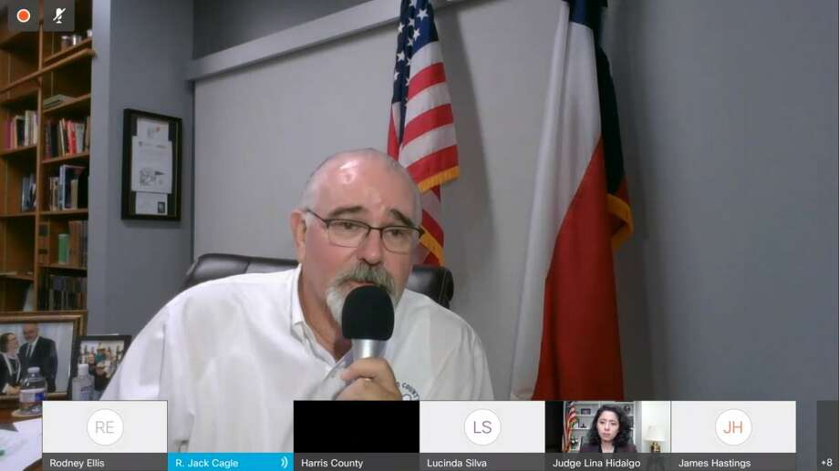 Harris County Pct. 4 Commissioner Jack Cagle talks during the July 28 Commissioners' Court about the bylaws of the restructured infrastructure resiliency task force. Photo: Zoom