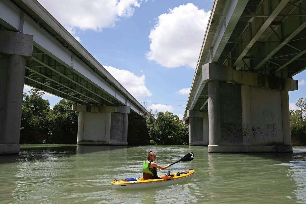 Brianna Allen, 12, launches off the public boat ramp at Lake Placid near Seguin, Texas, Sunday, Aug. 11, 2019. After the collapse of the Lake Dunlap dam on May 14, the Guadalupe-Blanco River Authority is planning on draining the remaining four dams for safety inspections.