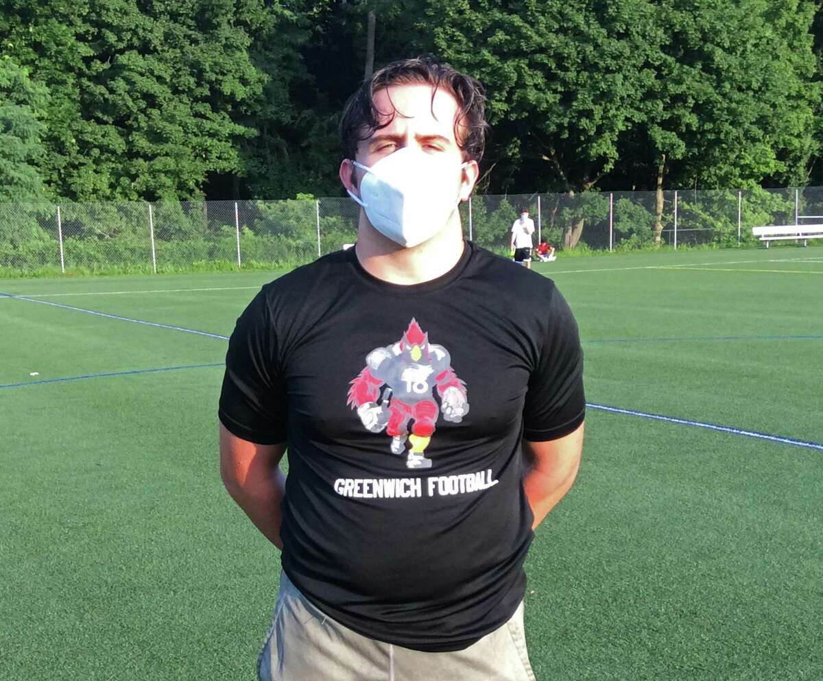 T.J. Abbazia is one of the captains of the Greenwich High School football team, which held a workout on Thursday, July 30, 2020 in Greenwich, Connecticut.