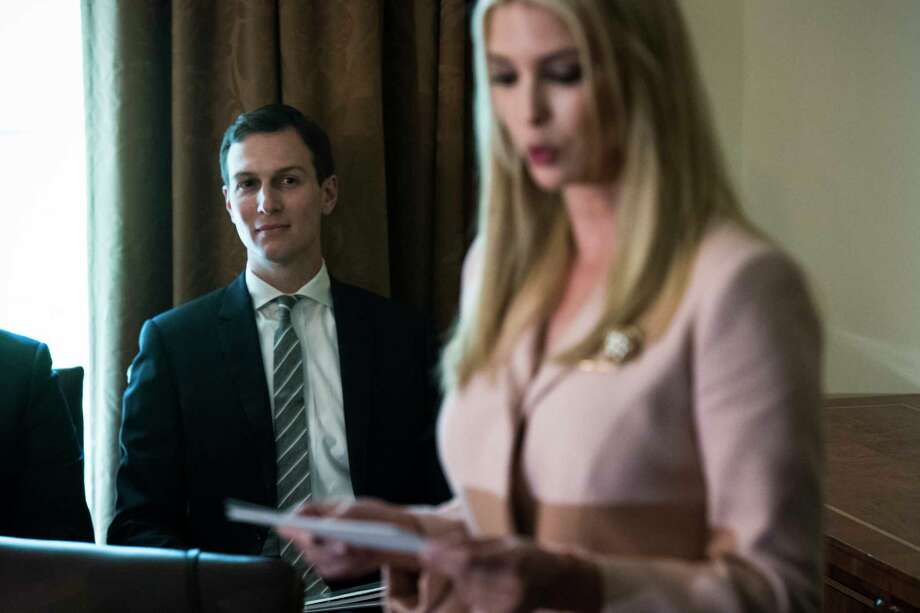 Jared Kushner listens as Ivanka Trump speaks during a cabinet meeting at the White House on July 18. Photo: Washington Post Photo By Jabin Botsford. / The Washington Post