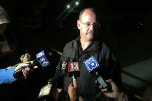 Niskayuna Police Chief Daniel McManus addresses the media Sunday night after a woman was shot at the Hillcrest Village West apartment complex on Monday, May 27, 2019. (David Lombardo/Times Union)