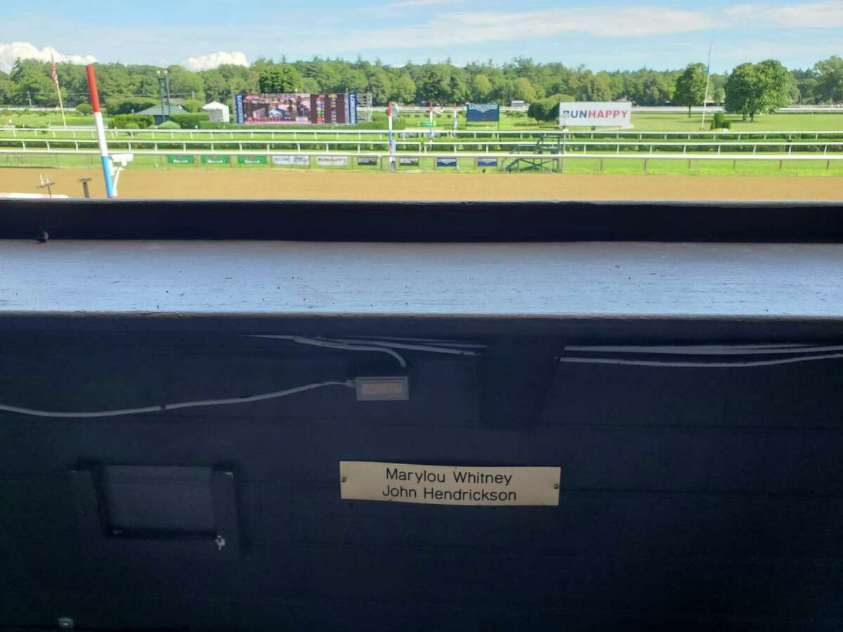 Here is the most iconic box seat in the clubhouse at Saratoga Race Course. This is where Marylou Whitney spent many a summer day with husband John Hendrickson watching the horses run at her favorite race track. For years, Marylou was the guest handicapper in the Green Sheet on Whitney Day and she took it very seriously and wanted to beat me badly. Often times, she did. We had a lot of laughs talking about our picks when I would visit her in the box on Whitney Day. Her Green Sheet spot is being taken Saturday by Alison McGaughey, wife of Hall of Fame trainer Shug McGaughey, who has Code of Honor running in the Whitney. Do well, Alison. Marylou will be watching from her clubhouse perch in the sky. She'll want you to carry on the tradition of getting more wins than me. (Tim Wilkin / Times Union)