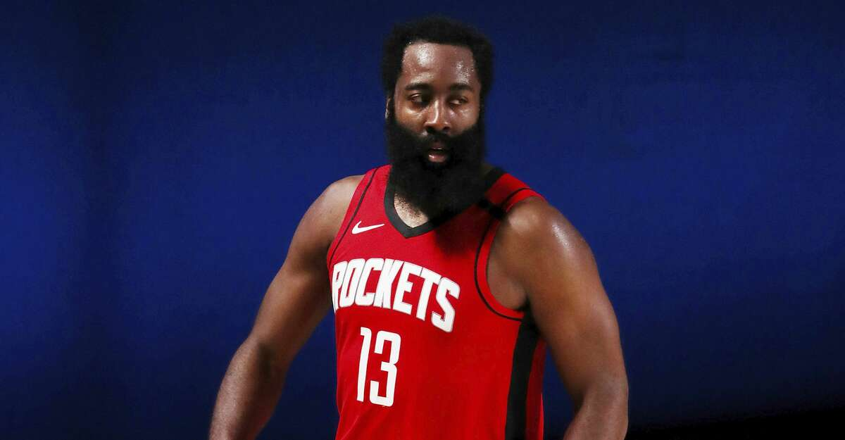 Houston Rockets James Harden reacts during overtime against the Dallas Mavericks in an NBA basketball game Friday, July 31, 2020, in Lake Buena Vista, Fla. (Mike Ehrmann/Pool Photo via AP)