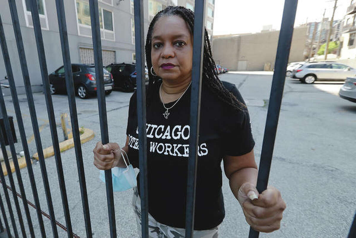 Financial challenges keep piling up for Roushaunda Williams months after she lost her job of nearly 20 years tending bar at the Palmer House Hilton Hotel in downtown Chicago. Potential reopening dates for the hotel have been pushed back, Williams said, and hospitality jobs remain scarce. Photo: Nam Y. Huh   AP