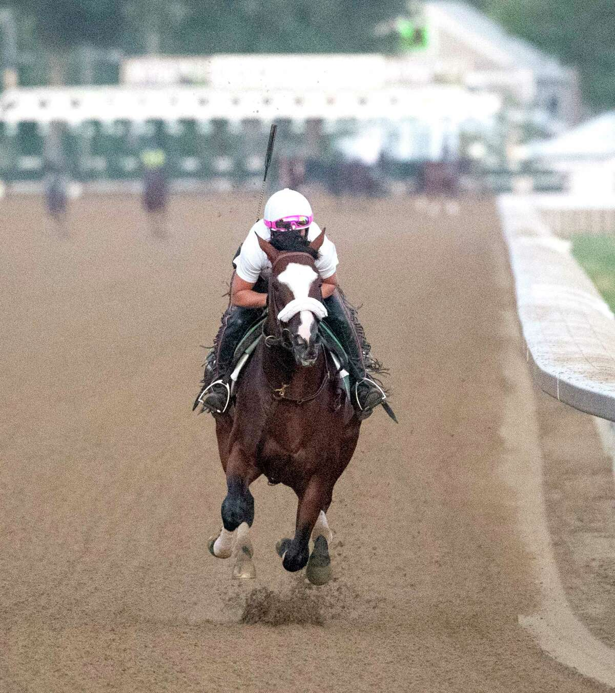 Tiz the Law with regular exerciser rider Heather Smullen aboard goes out for his final tuneup Saturday Aug. 1, 2020 for the Travers Stakes at the Saratoga Race Course in Saratoga Springs, N.Y. The Travers will be held next Saturday Aug. 8th at the historic facility. Photo by Skip Dickstein/Special to the Times Union