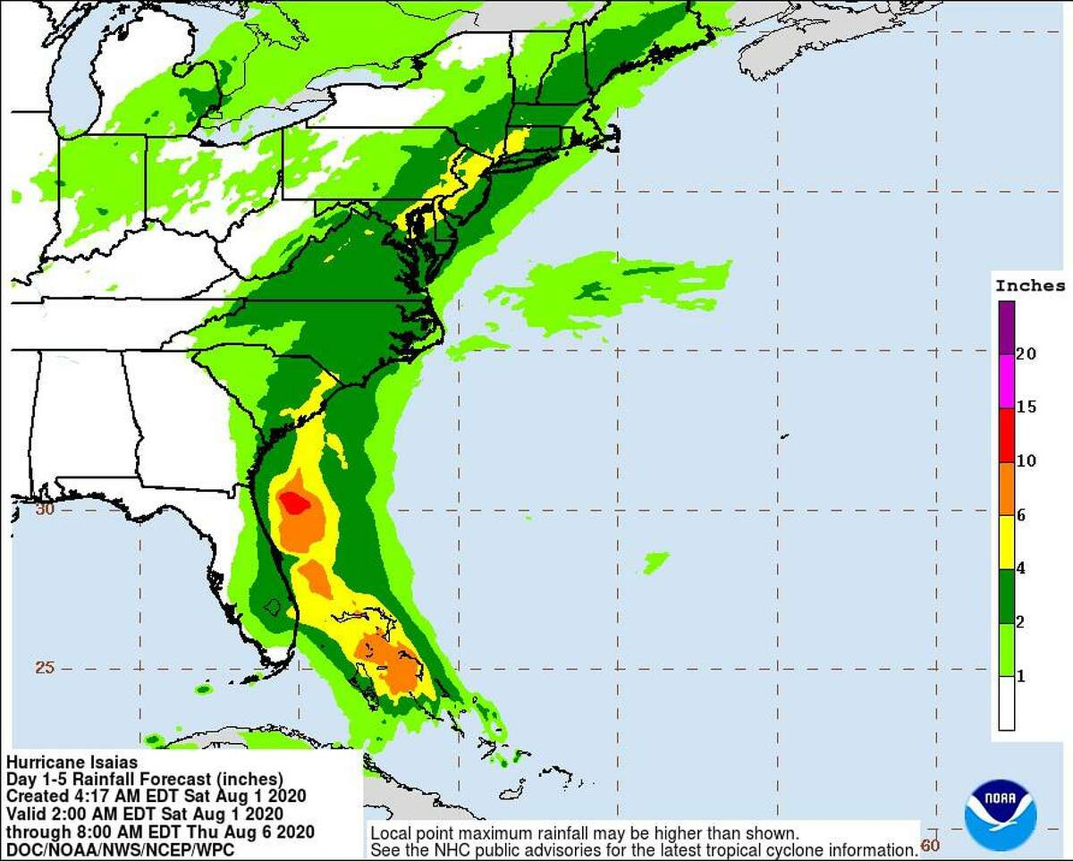 A map forecasting projected rainfall totals tied to Hurricane Isaias.