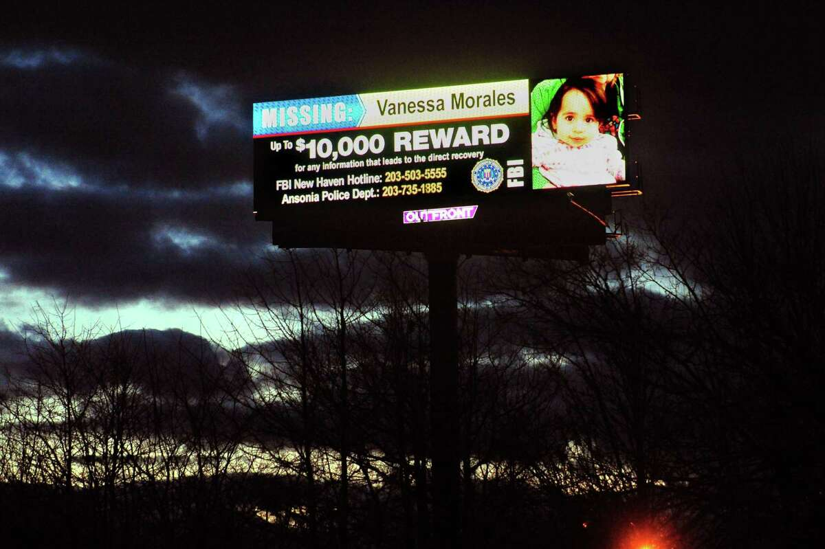 A digital billboard for missing Ansonia child Vanessa Morales seen from I95 southbound in West Haven, Conn., on Thursday Feb. 27, 2020. The search for Vanessa Morales will reach eight months on Sunday.