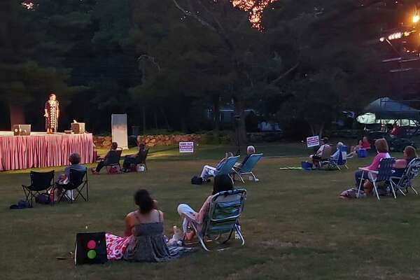 "The audience at ""Shakespeare on the Green"" at Sterling Farms Golf Course in Stamford, Connecticut, maintained required 15-foot distances on July 26, 2020."
