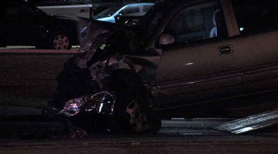 According to SAPD, a man driving a pickup truck died after crashing into a taxi cab and SUV on the Northwest Side late Friday night. Photo: 21 Pro Video
